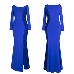 Wholesale Import Photos - In Stock New Blue Mermaid Evening Dresses Cheap Sequins Long Sleeves Prom Dresses China Imported Party Gowns