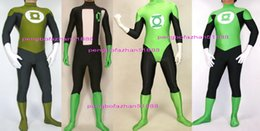 Costume del supereroe della lanterna online-Fantasy Superhero Green Lantern Costumi Outfit New 4 Style Lycra Spandex Lantern Suit Catsuit Costumi Unisex Halloween Cosplay Suit P203