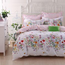 Wholesale Floral King Pillowcases - IvaRose floral style blue bedding sets linens cotton Queen King Size duvet cover+bedsheet+pillowcases