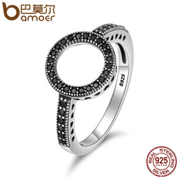 a60e0bf2bec7 BAMOER 100% genuino plata de ley 925 2 colores para siempre claro CZ anillos  de dedo redondo para mujer auténtica joyería de plata SCR112 joyería bamoer  ...