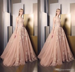 Wholesale Two Piece Prom Dress Champagne Blush - 2018 Ziad Nakad Blush Pink Lace Formal Celebrity Evening Dresses Jewel Neck Overskirts Train Appliques Special Occasion Gowns Prom Wears