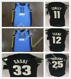 Wholesale Black Evans - 2018 New Style 11 Mike Conley Jersey Blue Men 33 Marc Gasol 25 Chandler Parsons 12 Tyreke Evans Basketball Jerseys All Stitched College