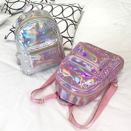 Wholesale school backpack pink - New Fashion Design Holographic Backpack Metallic Silver Gold Pink Laser Backpack Women Girls School Bags Travel Casual Shoulder Bags
