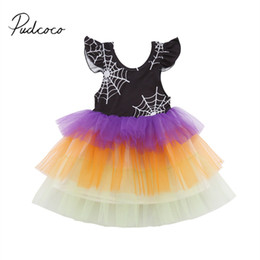 Кружевное полотно онлайн-2018  New 1-6Y Toddler Baby Girls Halloween Party Spider Web Dress Lace Patchwork Petal Sleeve Colorful Chiffon Tutu Dress