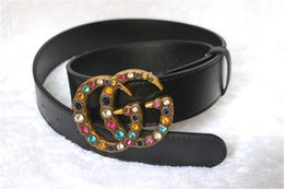 Wholesale Hot Gifts For Women - Hot Mens womens Belts Luxury High Quality big Colorful crystal buckle Belts For Men And Women riem styles ceinture for gift