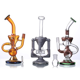 Wholesale Chocolate Paintings - 2018 USA heady glass Chocolate painting glass male joint water pipe bongs 2 layer unique recycler