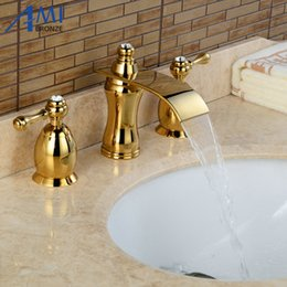 Wholesale Sink Bathtub Faucet - 3Pcs Waterfall Faucet Golden Polished Basin Faucets Deck Mounted Bathroom Tap Sink or Bathtub Faucet Double handles BA09