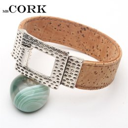 Wholesale wholesale wood bangles - Natural cork easy hook clasp unisex vintage cork bracelet handmade original natural wood jewelry BR-227