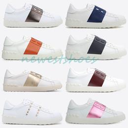 f4169bc1dfa768 herren offene schuhe Rabatt Beste Qualität Valen Garavani Weiß Modemarke  Designer Luxus Schuhe Herren Frauen Leder
