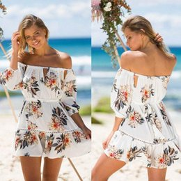 Wholesale Womens White Playsuit - Womens Off Shoulder Holiday Mini Playsuit Dress Summer Beach Boho Floral Short Sleeve