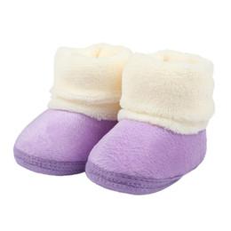 Wholesale Baby Girl Pre Walker Shoes - Clearance Newborn Baby Flock Warm Pre-walker Shoes Infant Boy Girl Soft Soled First Walker Toddler Soft Warm Cotton Fleece Shoes