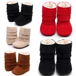 01f2c43a559e57 Bébé Infant Enfant Garçons Filles Neige Chaudes Bottes De Fourrure Coton D' hiver Toddler Crib Chaussures 0-18 M Rouge Noir Beige bottes en fourrure  noir ...