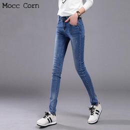 2c4df5098c4 Mocc Maíz Primavera Otoño Estiramiento Skinny Jeans Mujer Negro Azul  Pantalones de algodón Pantalones de mezclilla Mujeres Tight Lápiz Jean Slim  Femme