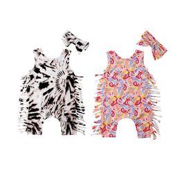 Leopardo romper roupa on-line-Bebê recém-nascido Meninas Leopardo Romper Borla Onesies Macacão Bodysuit Com Headband 2 pcs set Outfits Kid Vestuário 0-24 M