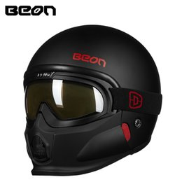 Wholesale Helmet Google - New arrive BEON vintage modular motorcycle helmets men women retro open face 3 4 helmets Moto Casque Casco with chin google