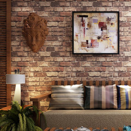 Wholesale Red Vinyl Wallpaper - Red Brick Stone 3D Vinyl Embossed Washable Exfoliator Wallpaper Living Room Bedroom Home Decor Wall Paper Mural Wall Covering