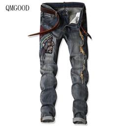 45d95060b8 Pantalones vaqueros de los hombres bordados al por mayor de los hombres de  moda Ripped Jeans Hombres Nuevo Straight Slim Cotton Stretch Hombres Casual  Grey ...