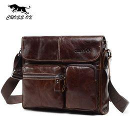 CROSS OX New Wax Leather Series Messenger Bag For Men Bag Genuine Leather  Shoulder Bags Cross Body Bags Vintage Satchel SL395M S914 8db7d3f574247