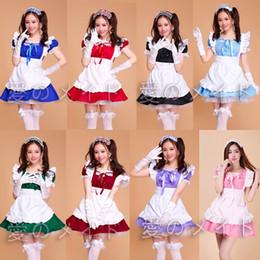 vestito cosplay delle domestiche Sconti Lolita Princess Maid Dress Fancy Grembiule Dress Maid Outfit Meidofuku Uniform Cosplay Costume S-XXL Mulit Colour