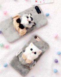 корейские футляры для телефонов Скидка Корейский же багажник iPHONEX чехол для мобильного телефона творческий плюшевая корка 8 плюс защита мобильного телефона любители домашних животных должны