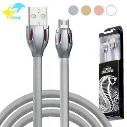 Chargeur flexible en Ligne-Câble de câble de données de données USB micro LED Red Light 2.1A 1M transfert câble de charge flexible pour Samsung S8 Note8 LG Huawei avec emballage