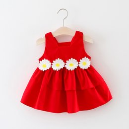 Wholesale Cute Korean Baby Clothes - New Style Girls Flower Dresses Cotton Sleeveless Girls Skirts Fashion Korean Summer Dresses Thick Clothes Cute Baby