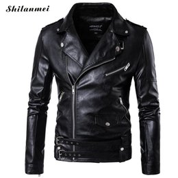 Wholesale mens synthetic leather jacket - Wholesale- 2017 Mens Motorcycle PU Leather Jacket Men jaqueta de couro masculino Plus Size Mens Leather Jackets Leather Coats 3xl 4xl 5xl