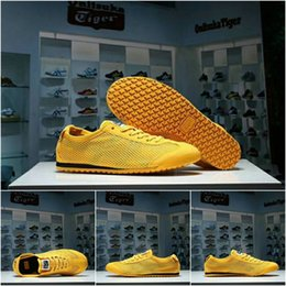 Wholesale Summer Net Shoes - Asics MEXICO66 Originals Onitsuka Tiger Weaving Net surface Running Shoes Bruce Lee Yellow New Color Lightweight Sports Sneakers