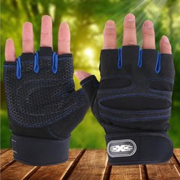 Wholesale fingerless baseball glove - Men Weight lifting Sports Gloves Cool Fitness Wrist Wrap Workout Exercise Gloves Outdoor skidding riding gloves