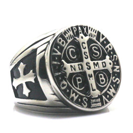 Wholesale saints rings - Men CSPB CSSML NDSMD Saint Benedict of Nursia Catholic Church Christianity Jesus Exorcism SilverCross Ring 316L Stainless Steel