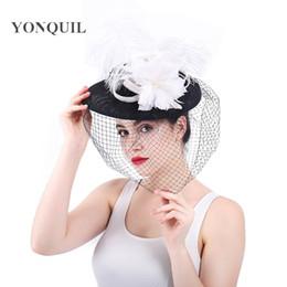 Cappello da sposa estivo online-Fascinator Ladies Cappelli per le donne Estate Velo copricapo da sposa Pillbox Hat per Cocktail Party Cappelli di piume floreali Abito Fedora