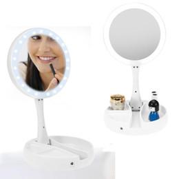 miroirs latéraux Promotion Miroir De Maquillage LED Lumineux Plié Bureau Miroir Grossissant Double Face Cosmétiques Retouches Lumineux Pliant Lampe Miroir