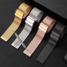 tela de bandera de nylon Rebajas Correa de reloj 12 mm 14 mm 18 mm 20 mm 22 mm 24 mm Reloj de pulsera de correa de banda de reloj de metal de acero inoxidable universal Negro Oro Rosa Plata