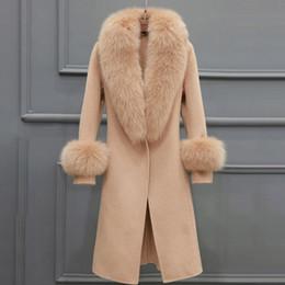 abrigo de camello Rebajas Mujeres Mezclas de Lana Abrigos Cuello de Piel Invierno Moda Cinturón Abrigo Señoras de la Oficina Elegante Lujo Gris Camel Coat Outwear D18110702