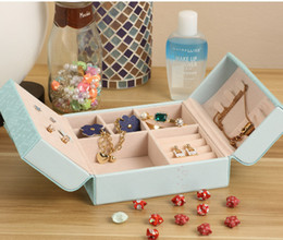 Wholesale Earrings Jewellery Box - Pink White Blue PU Leather Jewelry Organizer Holder Container Casket Storage Box Women Rings Earrings Jewellery Makeup Case