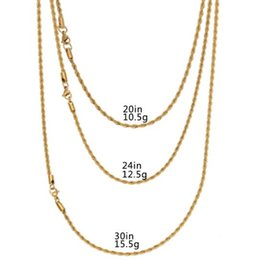 """Wholesale Stainless Steel 3mm - 2018 Hip Hop Stainless steel Rapper's 3mm 20 24 30"""" Rope Chain Mens Gold Filled Rope Chain Necklace"""