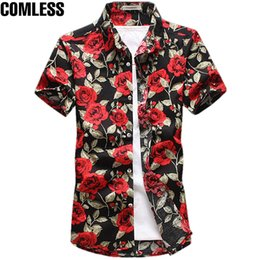 Wholesale mens black dress shorts - 2017 Fashion Cotton Flower Pattern Shirts Men Floral Shirts Short Sleeve Slim Dress Shirt Mens Camisa Masculina Plus Size M-5XL