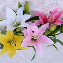 decorazioni da party fucsia Sconti fiori artificiali vero tocco giglio corto gambo festa di nozze decorazione domestica centrotavola bianco giallo rosa fucsia