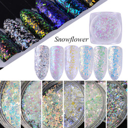 Discount christmas snowflakes nail 3d - litter powder nail art Full Beauty 6pcs Christmas Glitter Powder Snowflakes Broken Sequins 3D Charming Acrylic Gel Transparent Slice Nail...