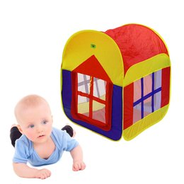 Wholesale play tent house - Foldable Kids Tent Portable Indoor Outdoor Play Tent Play Mat Playhouse Game House Baby Play Tent Gifts for Boys Girls
