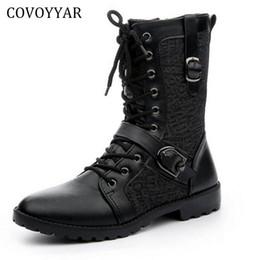 Botas de hebilla de invierno de los hombres online-COVOYYAR 2018 Otoño Invierno Hombres Botas Patchwork Buckle British Knight Botines Zapatos de Hombre Negro MBS670