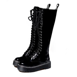 a47931cf Flat Martin boots women's wind thick England boots with high winter women  straight knight