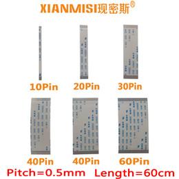 ffc câble fpc Promotion FFC / FPC Câble plat flexible 10 broches 20 broches 30 broches 40 broches 50 broches 60 broches Du même côté 0.5mm hauteur AWM VW-1 20624 20798 80C 60V Longueur 60cm