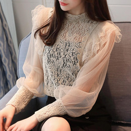 Wholesale Long Sleeves Transparent Tops - 2018 Sexy Romantic Long Sleeve Lace Blouses Women Lantern Sleeve Stand Collar Hollow Out Lace Shirts Women Transparent Lace Tops