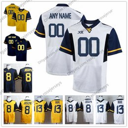 Wholesale Elite Football Jerseys - Custom Elite WVU College Football On The Field Jersey White navy blue yellow Stitched Any Name Number West Virginia Mountaineers Grier S-3XL