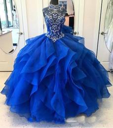Vestidos de corset para baile on-line-Cristal Frisado Corpete Corpete Ruffles Quinceanera Vestidos De Baile 2019 Princesa Prom Vestidos De Alta Neck Doce 16 Vestido De Festa Vestido