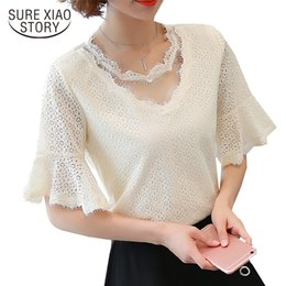 Wholesale Lace Butterfly Sleeve Top - 2017 new fashion women clothing lace blouses OL style shirts short butterfly sleeve blouses lady casual solid women tops D53 30