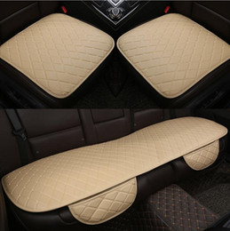 Wholesale Leather Padding - NEW Car front back Seat Covers Universal Fit SUV sedans Chair Pad Cushion mat antiskid PU leather check design