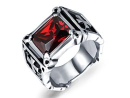 Wholesale Ruby Stone Rings - Domineering retro inlaid ruby ring European and American models selling titanium steel men's ring