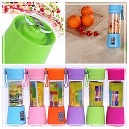 Wholesale rechargeable blender - 380ml Personal Blender Portable Blender USB Juicer Cup Rechargeable Juicer Bottle Fruit Vegetable Tools 6 Color DDA90